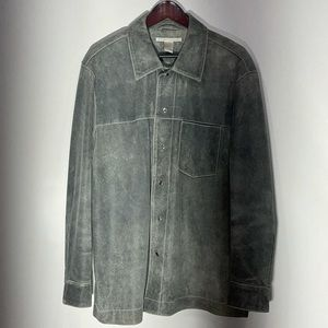 Perry Ellis 100% Leather gray snap button jacket